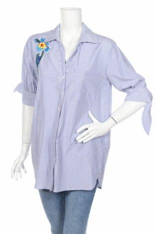 Γυναικείο πουκάμισο Koton, Μέγεθος L, Χρώμα Μπλέ, 51% βαμβάκι, 49% πολυεστέρας, Τιμή 20,49€
