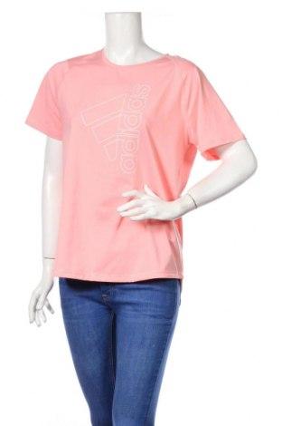Γυναικείο t-shirt Adidas, Μέγεθος L, Χρώμα Ρόζ , 84% πολυεστέρας, 16% ελαστάνη, Τιμή 15,81€