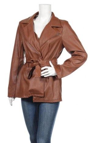 Dámska kožená bunda  Boohoo, Veľkosť L, Farba Hnedá, Eko koža , Cena  21,29€