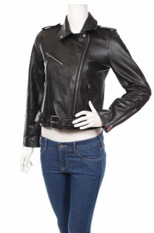 Γυναικείο δερμάτινο μπουφάν Zara Trafaluc, Μέγεθος M, Χρώμα Μαύρο, Γνήσιο δέρμα, Τιμή 59,23€