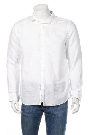 Мъжка риза Sisley, Размер L, Цвят Бял, 58% лен, 42% памук, Цена 40,80лв.