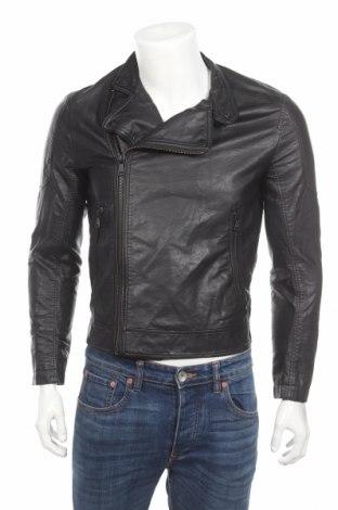 Мъжко кожено яке H&M, Размер S, Цвят Черен, Еко кожа, Цена 28,67лв.