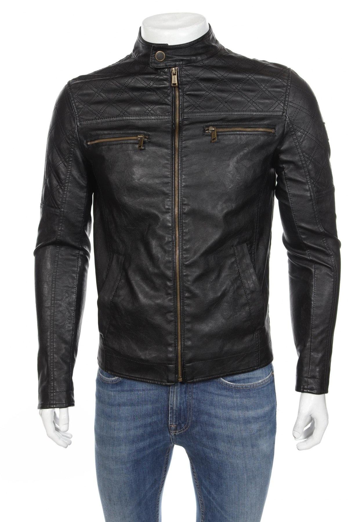 Мъжко кожено яке Guess, Размер S, Цвят Черен, Еко кожа, Цена 175,77лв.