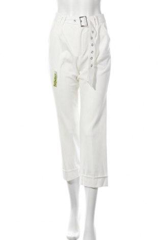 Дамски панталон Bershka, Размер S, Цвят Бял, 64% полиестер, 31% вискоза, 5% еластан, Цена 18,52лв.
