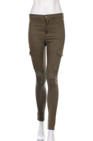 Дамски панталон H&M Divided, Размер S, Цвят Зелен, 98% памук, 2% еластан, Цена 6,53лв.