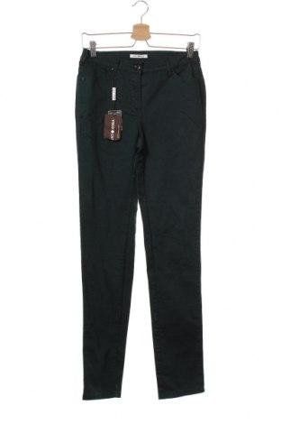 Дамски панталон Punto Roma, Размер XS, Цвят Зелен, 64% памук, 32% полиестер, 4% еластан, Цена 11,05лв.