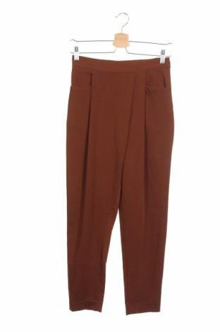 Дамски панталон Zara, Размер XS, Цвят Кафяв, 97% полиестер, 3% еластан, Цена 16,40лв.