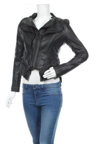 Дамско кожено яке, Размер S, Цвят Черен, Еко кожа, Цена 41,58лв.