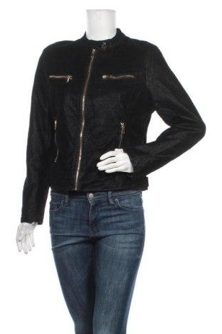 Дамско кожено яке, Размер L, Цвят Черен, Еко кожа, полиестер, Цена 20,79лв.
