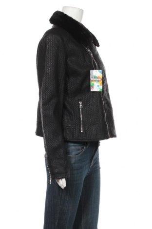 Дамско кожено яке Desigual, Размер XL, Цвят Черен, Еко кожа, Цена 86,70лв.