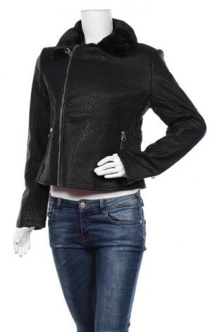 Дамско кожено яке Desigual, Размер M, Цвят Черен, Еко кожа, Цена 60,69лв.