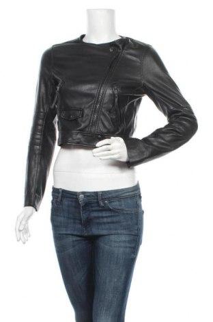 Дамско кожено яке H&M, Размер XS, Цвят Черен, Еко кожа, Цена 38,90лв.