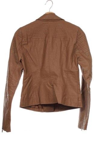 Дамско кожено яке ONLY, Размер XS, Цвят Кафяв, Еко кожа, Цена 42,09лв.