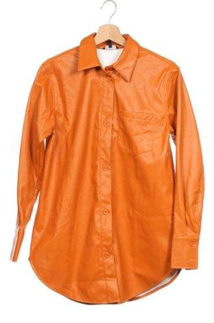 Дамско кожено яке Who What Wear, Размер XS, Цвят Оранжев, Еко кожа, Цена 70,50лв.