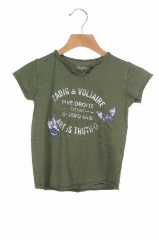 Tricou pentru copii Zadig & Voltaire, Mărime 3-4y/ 104-110 cm, Culoare Verde, Bumbac, Preț 146,45 Lei