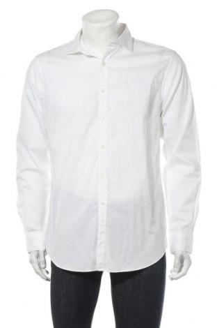 Мъжка риза Cortefiel, Размер L, Цвят Бял, 68% памук, 32% еластан, Цена 15,12лв.
