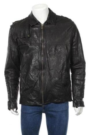 Мъжко кожено яке Boss Orange, Размер XL, Цвят Черен, Естествена кожа, Цена 131,84лв.