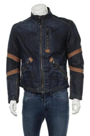 Ανδρικό μπουφάν Armani Jeans, Μέγεθος L, Χρώμα Μπλέ, Βαμβάκι, γνήσιο δέρμα, Τιμή 87,65€
