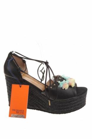Sandale Trussardi Jeans, Mărime 41, Culoare Negru, Piele naturală, Preț 163,97 Lei