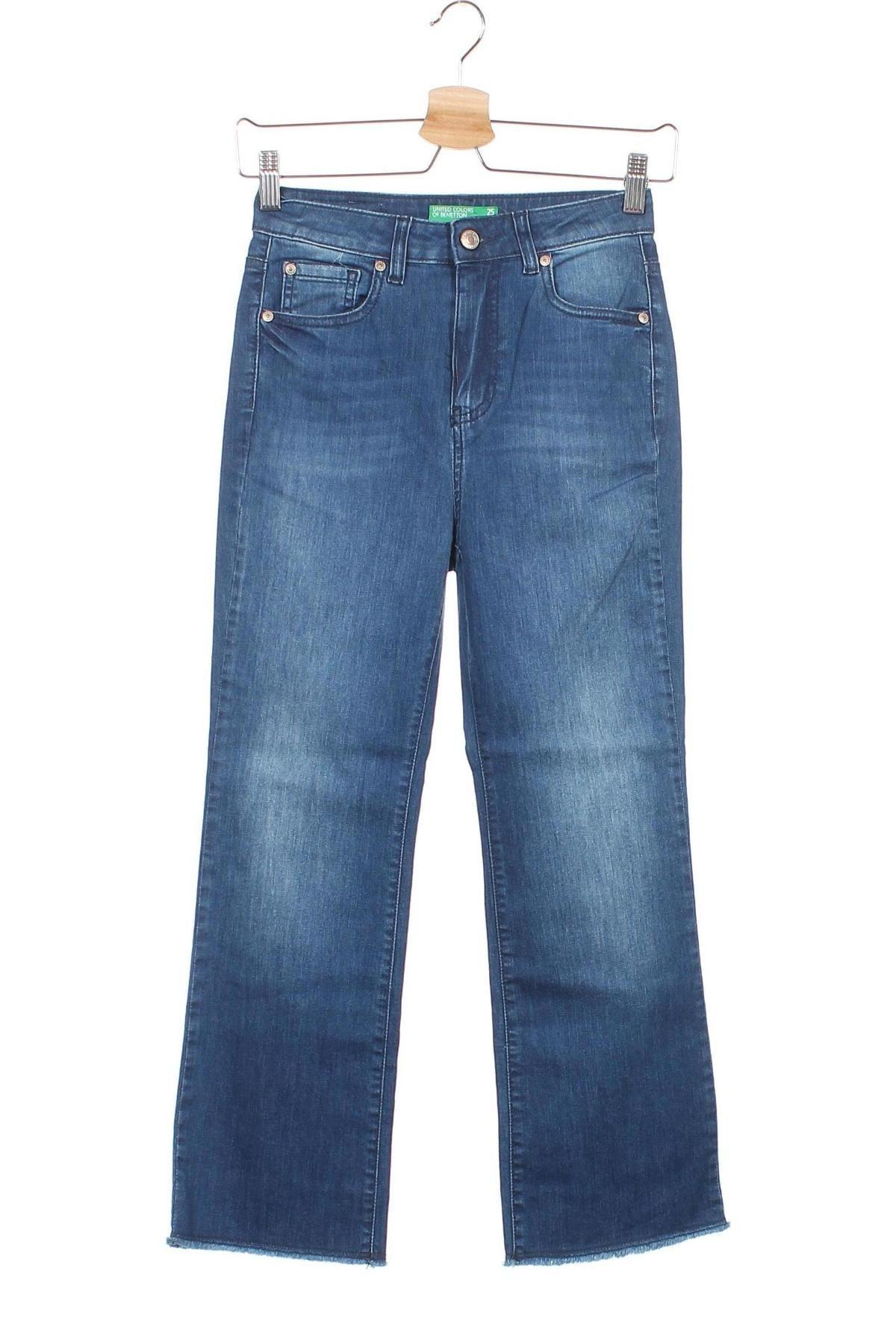 Дамски дънки United Colors Of Benetton, Размер XS, Цвят Син, 97% памук, 3% еластан, Цена 9,78лв.