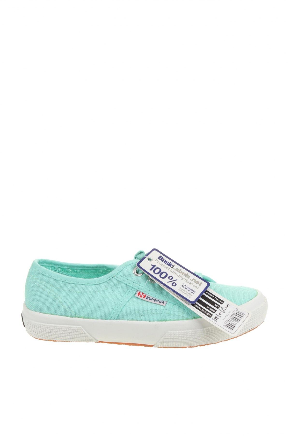 Дамски обувки Superga, Размер 38, Цвят Зелен, Текстил, Цена 51,48лв.