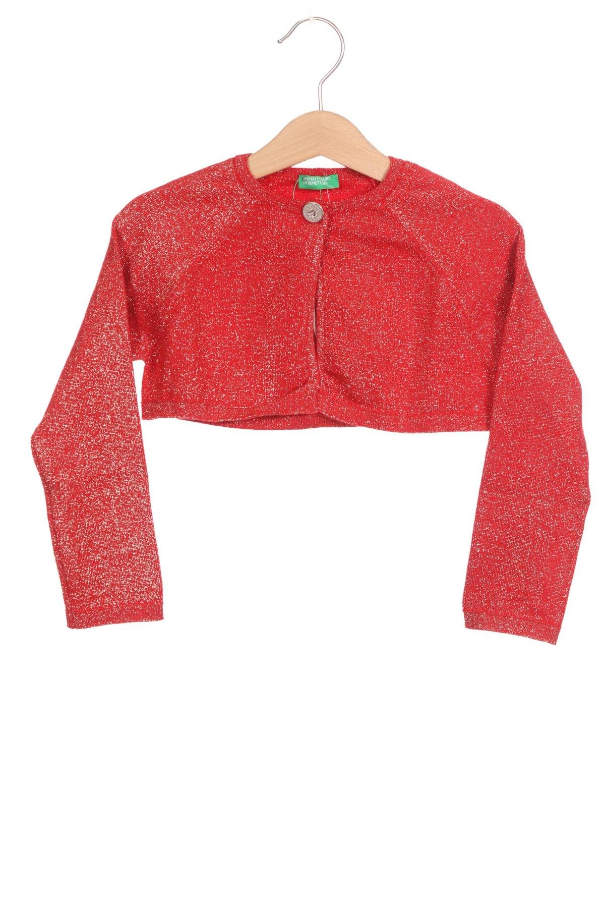 Pulover cu nasturi pentru copii United Colors Of Benetton, Mărime 4-5y/ 110-116 cm, Culoare Roșu, 40% viscoză, 32% poliester, 28% poliamidă, Preț 120,89 Lei