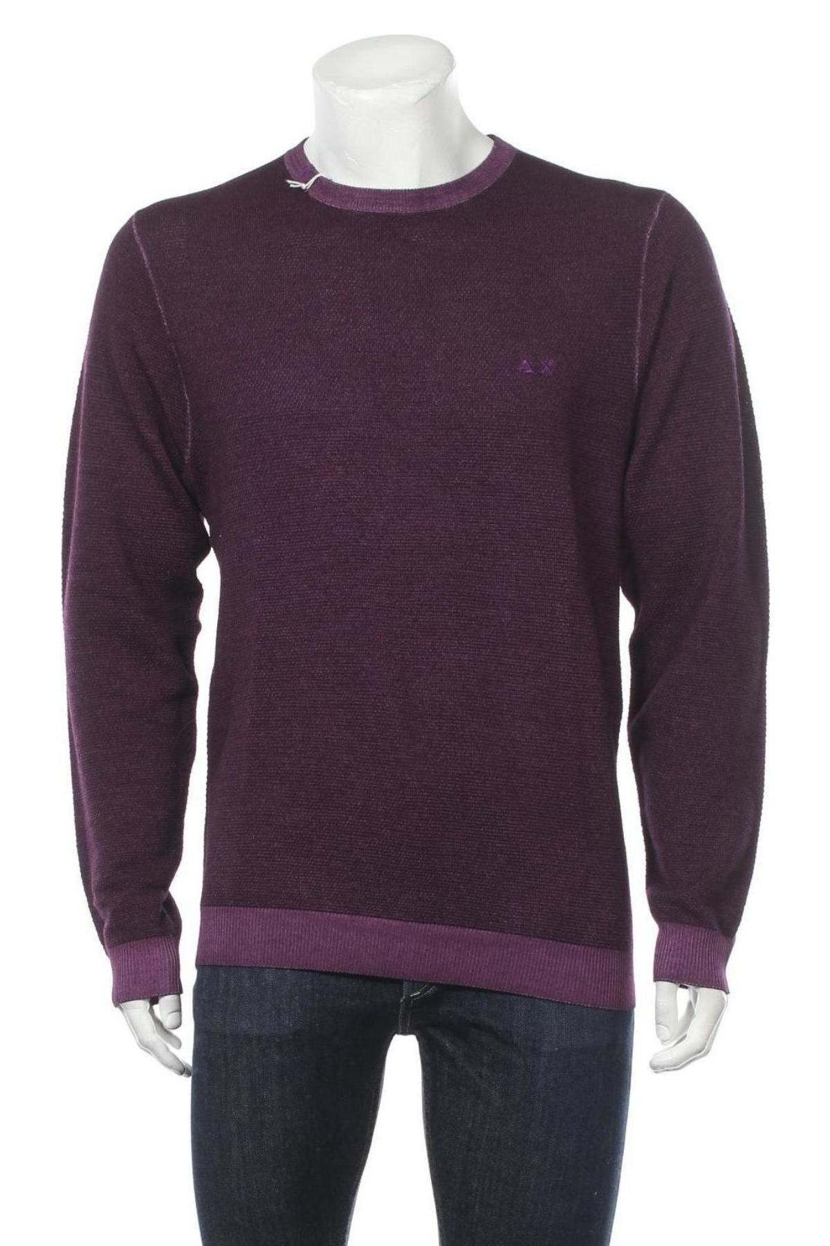 Мъжки пуловер SUN68, Размер L, Цвят Лилав, Вълна, Цена 104,25лв.