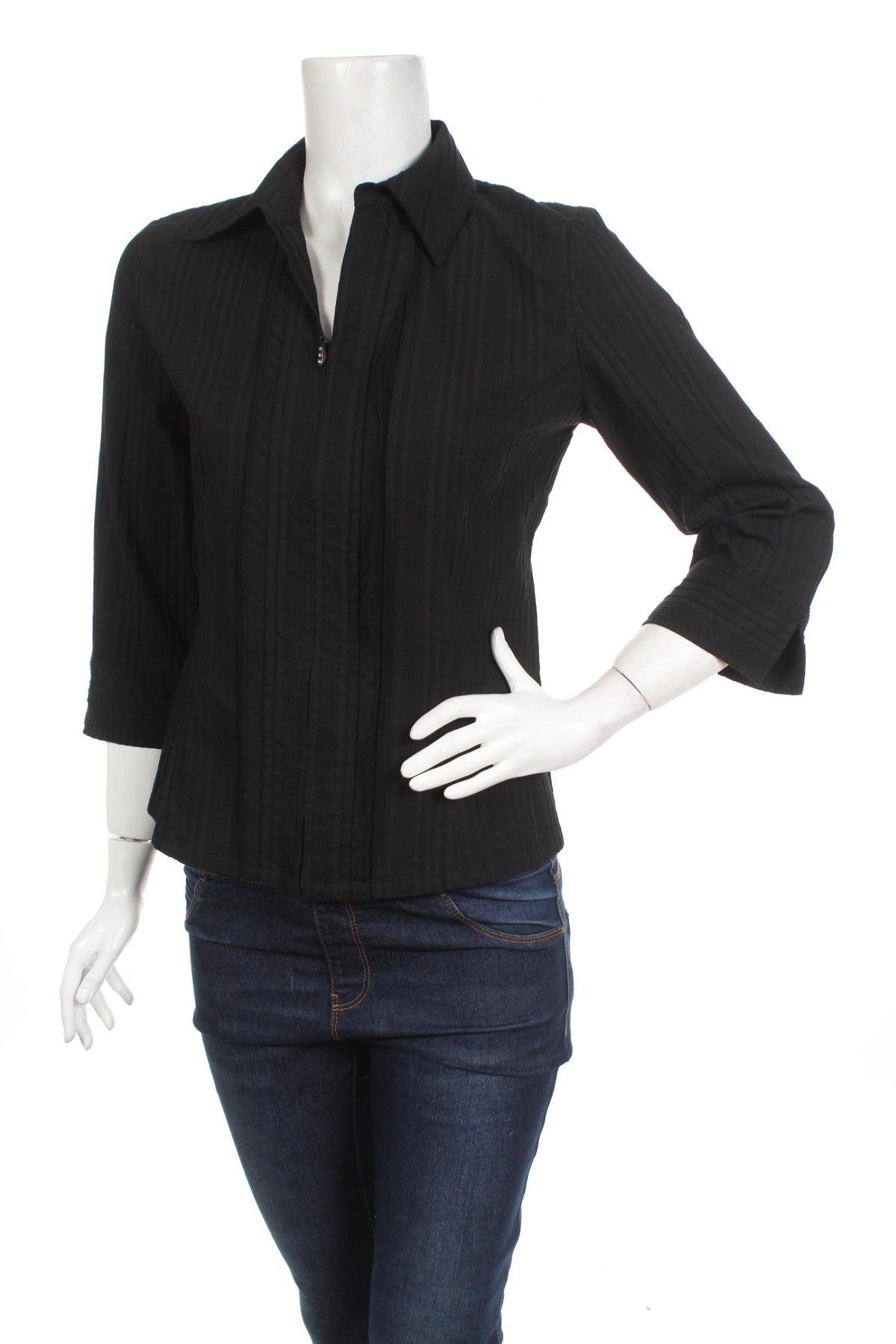 Γυναικείο πουκάμισο Brandtex, Μέγεθος S, Χρώμα Μαύρο, 56% βαμβάκι, 42% πολυεστέρας, 2% ελαστάνη, Τιμή 14,95€