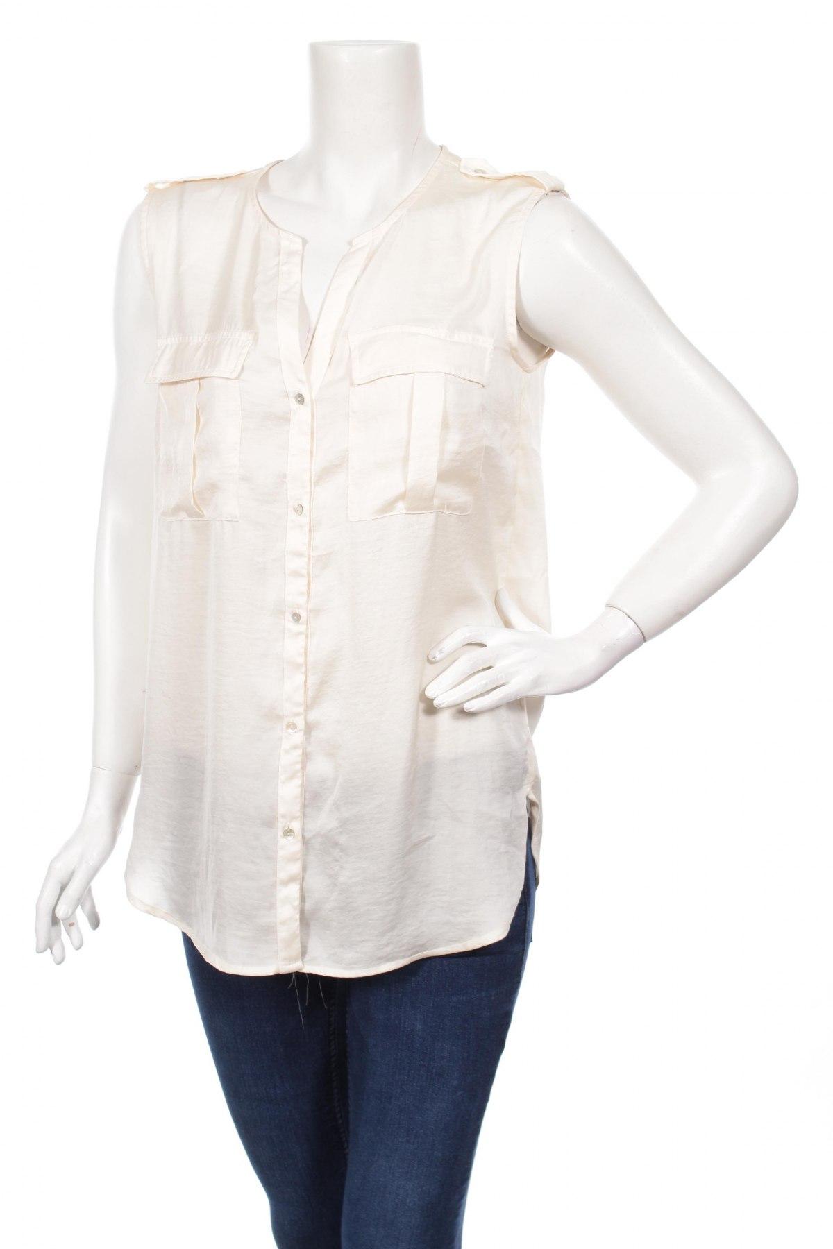 Γυναικείο πουκάμισο H&M, Μέγεθος M, Χρώμα Εκρού, 100% πολυεστέρας, Τιμή 11,75€