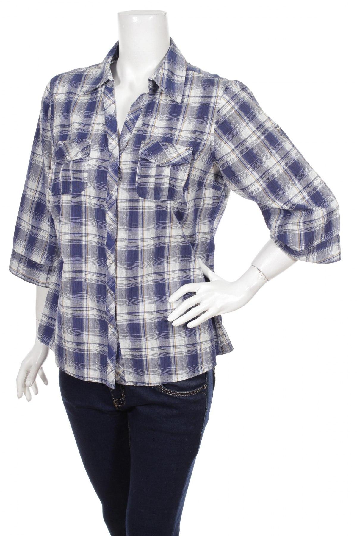 Γυναικείο πουκάμισο Visual, Μέγεθος L, Χρώμα Μπλέ, Βαμβάκι, Τιμή 17,94€