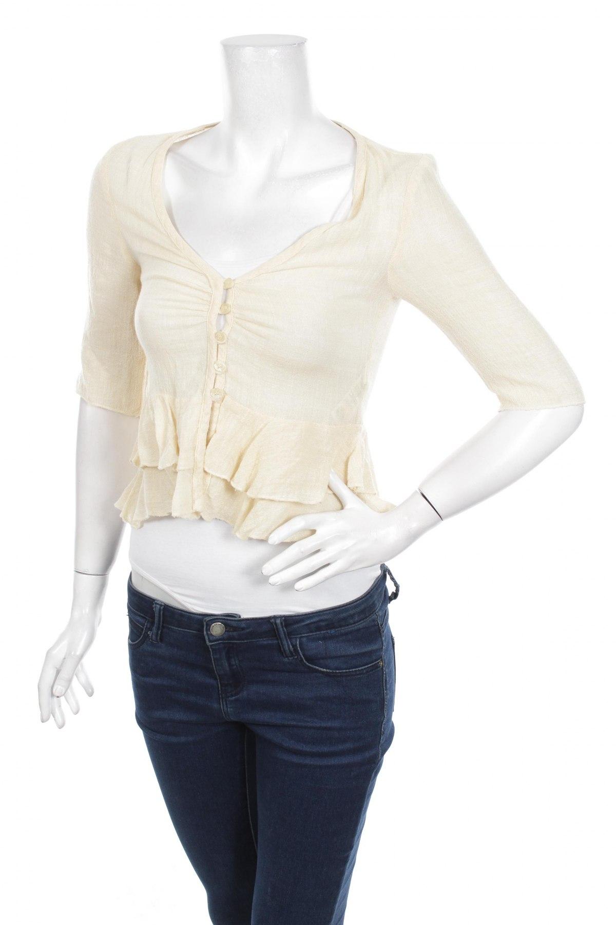 Γυναικείο πουκάμισο Zara, Μέγεθος M, Χρώμα  Μπέζ, 56% βισκόζη, 38% λινό, 6% πολυαμίδη, Τιμή 13,40€