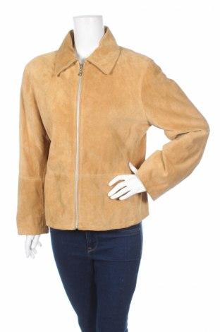 Дамско кожено яке Vera Pelle, Размер L, Цвят Кафяв, Естествен велур, Цена 26,01лв.
