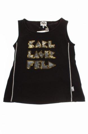 Детски потник Karl Lagerfeld, Размер 4-5y/ 110-116 см, Цвят Черен, 95% памук, 5% еластан, Цена 47,60лв.