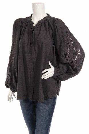 Дамска риза H&M L.o.g.g, Размер XL, Цвят Сив, 97% памук, 3% еластан, Цена 18,90лв.