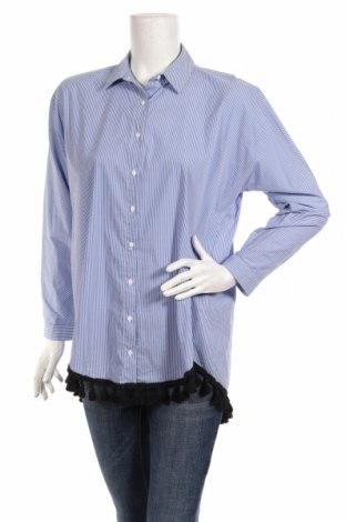 Дамска риза Zara, Размер M, Цвят Син, 67% памук, 28% полиамид, 5% еластан, Цена 24,15лв.