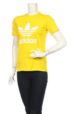 Tricou de femei Adidas, Mărime S, Culoare Galben, 95% bumbac, 5% elastan, Preț 215,79 Lei