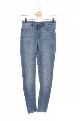 Дамски дънки H&M Divided, Размер XS, Цвят Син, 80% памук, 19% полиестер, 1% еластан, Цена 23,67лв.