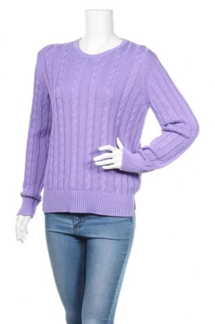 Дамски пуловер United Colors Of Benetton, Размер L, Цвят Лилав, 100% памук, Цена 10,29лв.