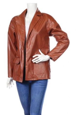 Dámske kožené sako  Boohoo, Veľkosť M, Farba Hnedá, Eko koža , Cena  25,61€
