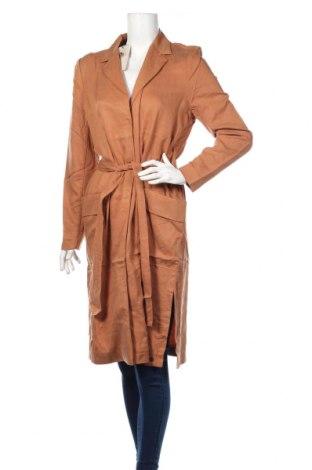 Γυναικείο παλτό Numph, Μέγεθος M, Χρώμα Καφέ, 87% τενσελ, 13% λινό, Τιμή 60,98€