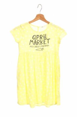 Детска рокля H&M, Размер 7-8y/ 128-134 см, Цвят Жълт, Вискоза, Цена 22,41лв.
