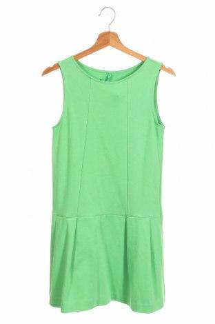 Rochie de copii United Colors Of Benetton, Mărime 14-15y/ 168-170 cm, Culoare Verde, 95% bumbac, 5% elastan, Preț 105,97 Lei