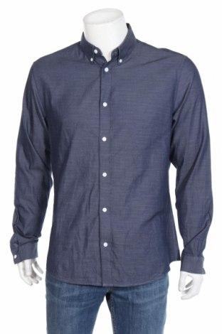 Ανδρικό πουκάμισο H&M, Μέγεθος L, Χρώμα Μπλέ, Βαμβάκι, Τιμή 11,46€