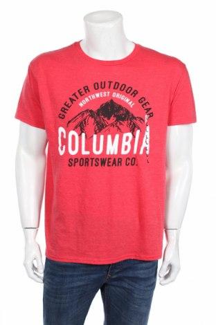 Ανδρικό t-shirt Columbia, Μέγεθος L, Χρώμα Κόκκινο, 50% βαμβάκι, 50% πολυεστέρας, Τιμή 39,46€