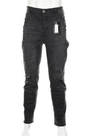 Pánske džínsy  Boohoo, Veľkosť XL, Farba Sivá, 65% bavlna, 33% polyester, 2% elastan, Cena  22,68€