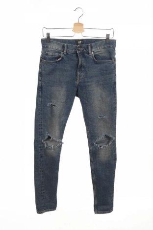 Męskie jeansy H&M, Rozmiar S, Kolor Niebieski, 95% bawełna, 4% poliester, 1% elastyna, Cena 76,44zł