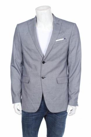 Sacou de bărbați Zara, Mărime L, Culoare Albastru, 49% poliester, 48% viscoză, 3% elastan, Preț 116,98 Lei