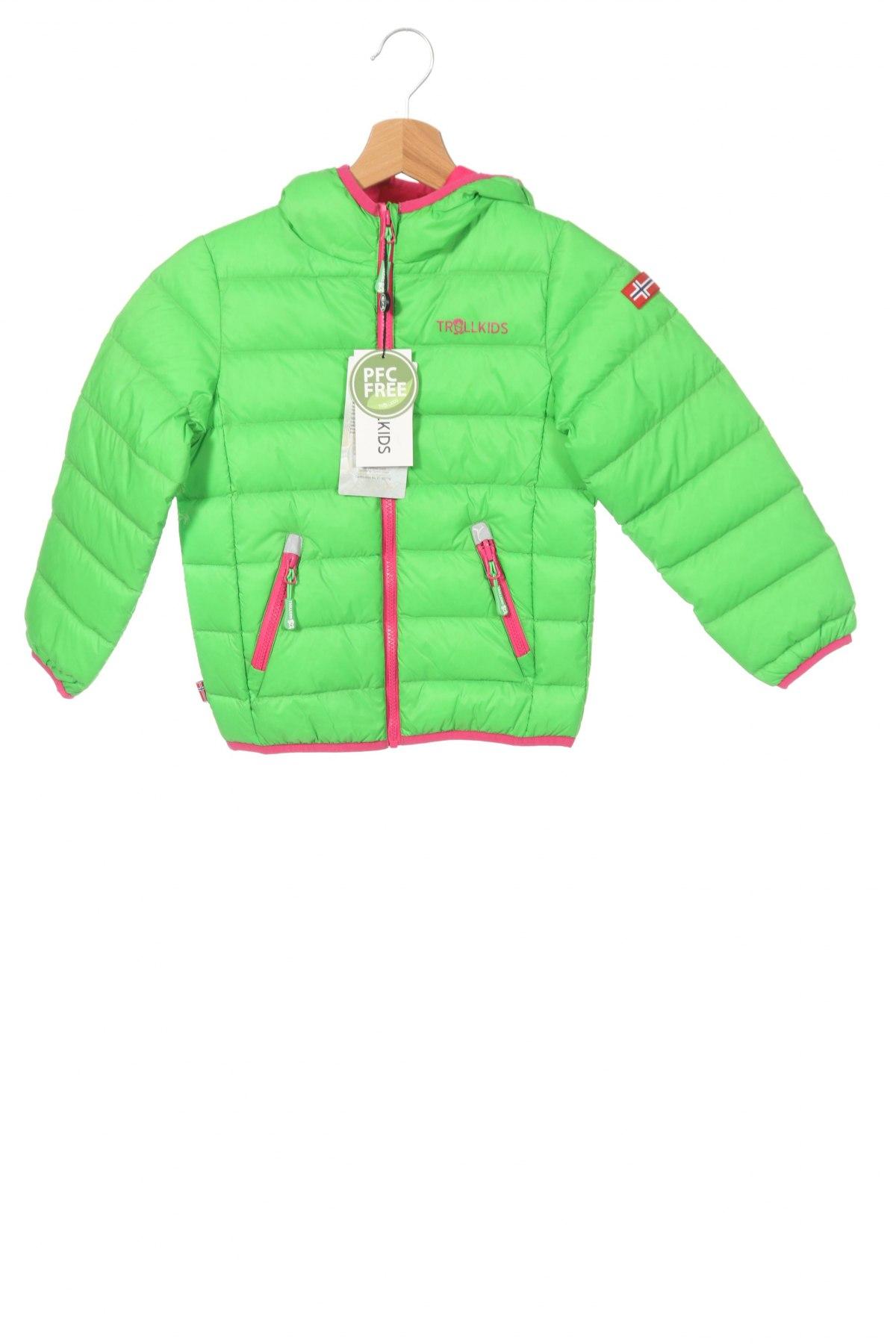 Детско яке Trollkids, Размер 4-5y/ 110-116 см, Цвят Зелен, Полиамид, пух и пера, Цена 64,35лв.