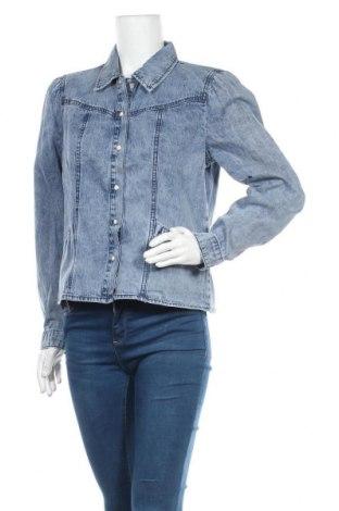 Дамска риза Object, Размер L, Цвят Син, Памук, Цена 37,92лв.