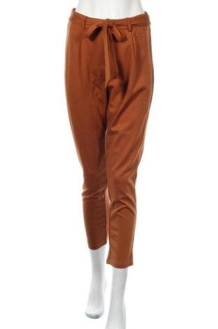Дамски панталон Pieces, Размер M, Цвят Кафяв, 63% вискоза, 32% полиамид, 5% еластан, Цена 17,54лв.
